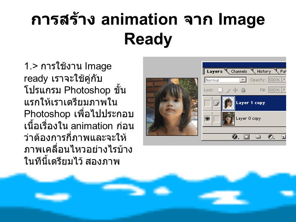 การสร้าง animation จาก Image Ready 1.> การใช้งาน Image ready เราจะใช้คู่กับ โปรแกรม Photoshop ขั้น แรกให้เราเตรียมภาพใน Photoshop เพื่อไปประกอบ เนื้อเ