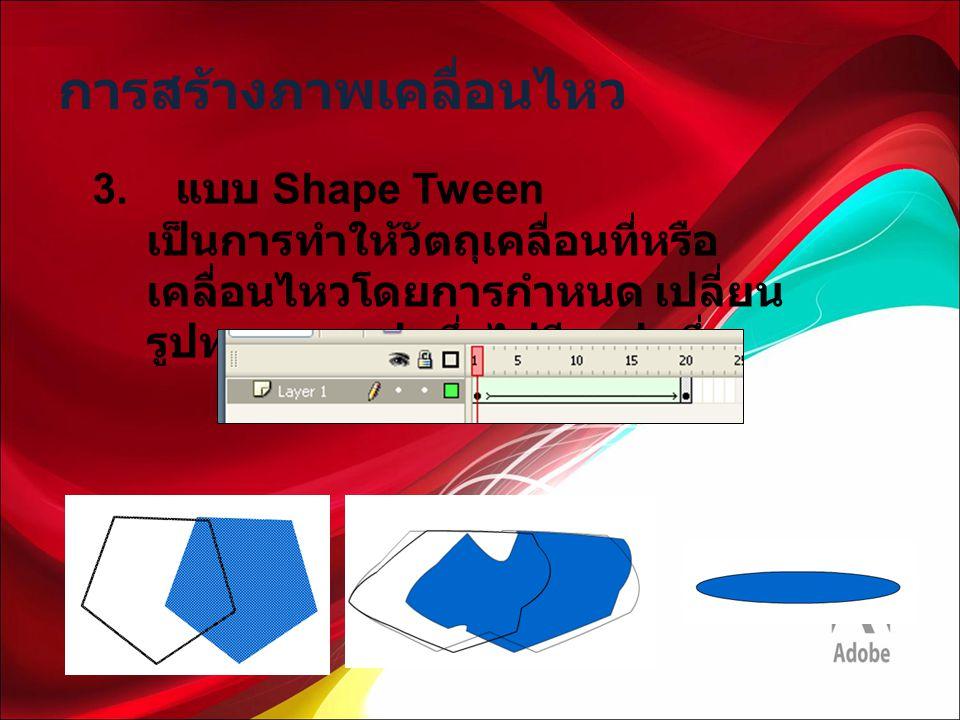 การสร้างภาพเคลื่อนไหว 3. แบบ Shape Tween เป็นการทำให้วัตถุเคลื่อนที่หรือ เคลื่อนไหวโดยการกำหนด เปลี่ยน รูปทรงจากรูปหนึ่งไปอีกรูปหนึ่ง