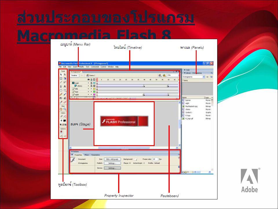 ส่วนประกอบของโปรแกรม Macromedia Flash 8