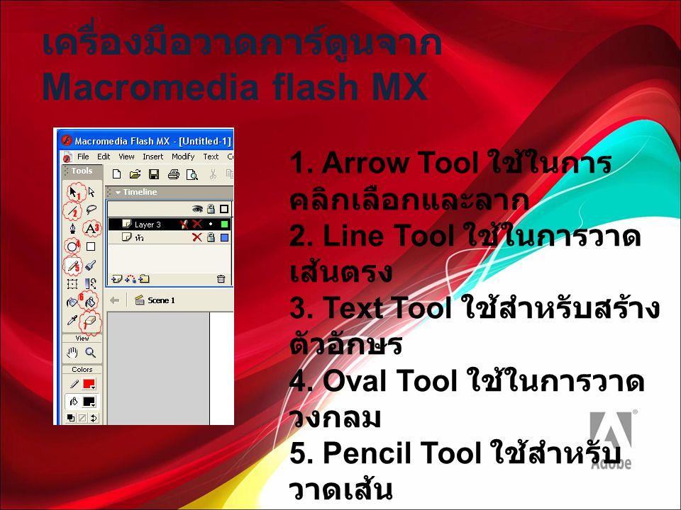 เครื่องมือวาดการ์ตูนจาก Macromedia flash MX 1. Arrow Tool ใช้ในการ คลิกเลือกและลาก 2. Line Tool ใช้ในการวาด เส้นตรง 3. Text Tool ใช้สำหรับสร้าง ตัวอัก