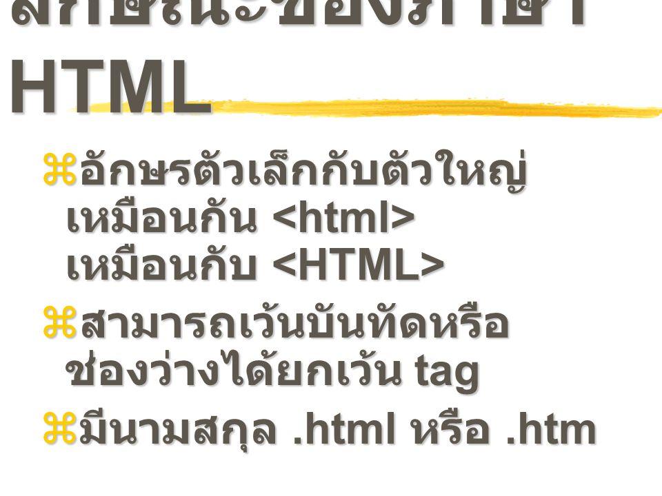 ลักษณะของภาษา HTML  อักษรตัวเล็กกับตัวใหญ่ เหมือนกัน เหมือนกับ  อักษรตัวเล็กกับตัวใหญ่ เหมือนกัน เหมือนกับ  สามารถเว้นบันทัดหรือ ช่องว่างได้ยกเว้น