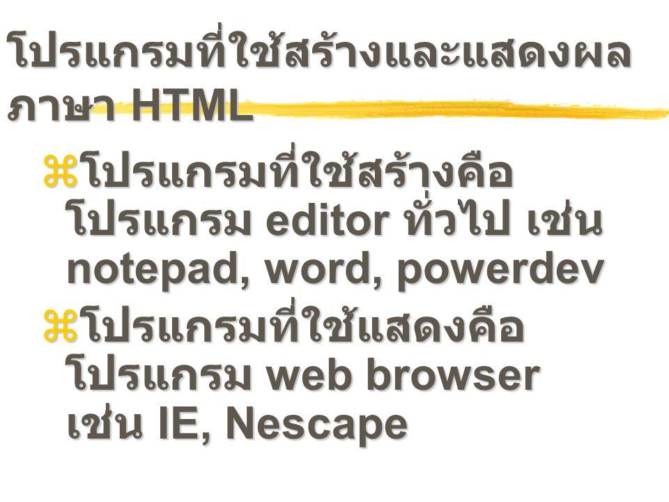 โปรแกรมที่ใช้สร้างและแสดงผล ภาษา HTML  โปรแกรมที่ใช้สร้างคือ โปรแกรม editor ทั่วไป เช่น notepad, word, powerdev  โปรแกรมที่ใช้แสดงคือ โปรแกรม web br