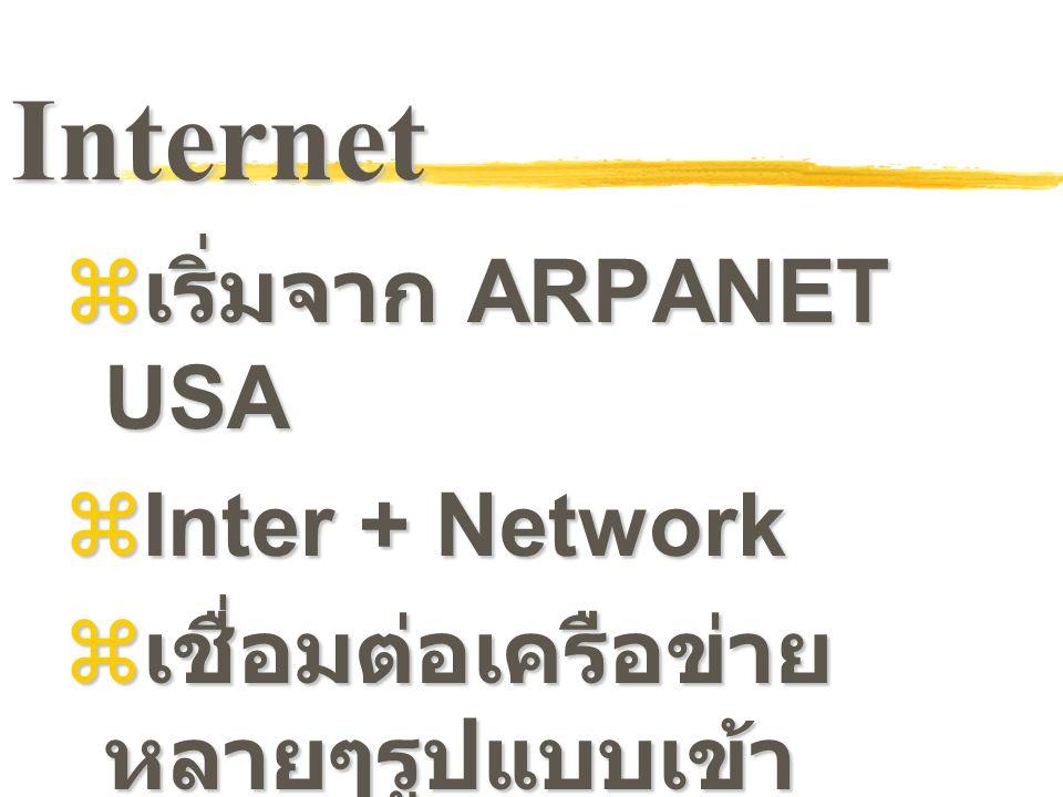 Internet  เริ่มจาก ARPANET USA  Inter + Network  เชื่อมต่อเครือข่าย หลายๆรูปแบบเข้า ด้วยกันโดยผู้ใช้ไม่ต้อง สนใจ