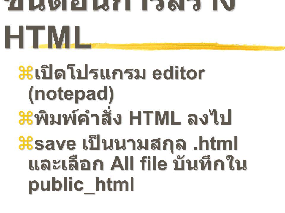 ขั้นตอนการสร้าง HTML  เปิดโปรแกรม editor (notepad)  พิมพ์คำสั่ง HTML ลงไป  save เป็นนามสกุล.html และเลือก All file บันทึกใน public_html