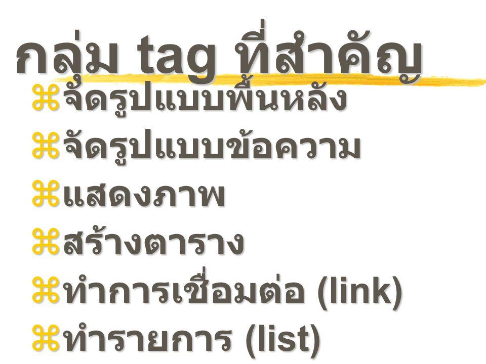กลุ่ม tag ที่สำคัญ  จัดรูปแบบพื้นหลัง  จัดรูปแบบข้อความ  แสดงภาพ  สร้างตาราง  ทำการเชื่อมต่อ (link)  ทำรายการ (list)