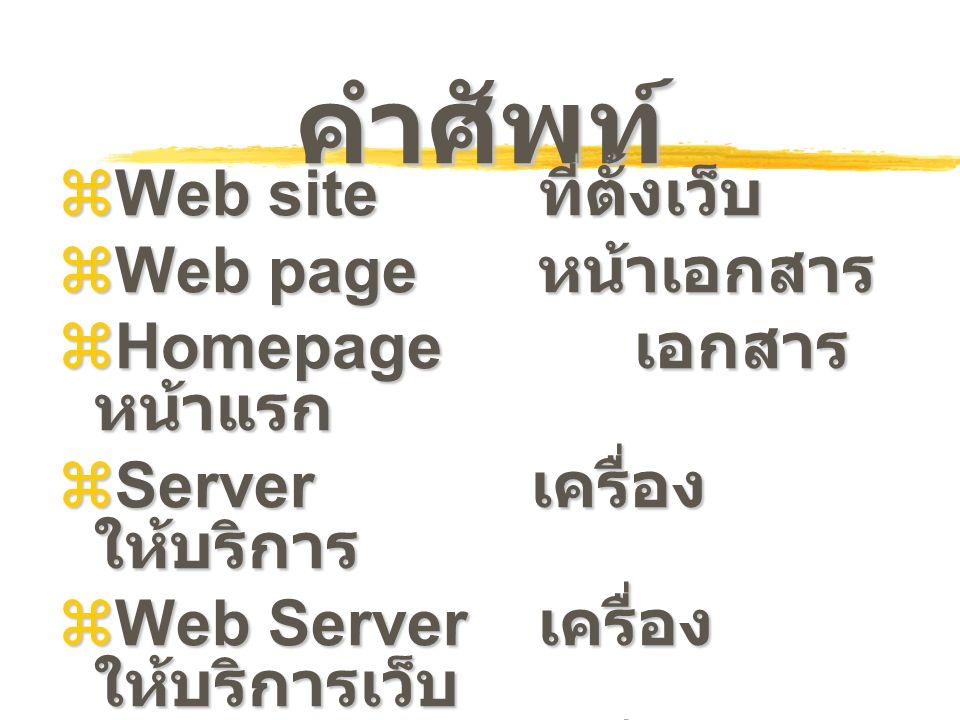 คำศัพท์  Web site ที่ตั้งเว็บ  Web page หน้าเอกสาร  Homepage เอกสาร หน้าแรก  Server เครื่อง ให้บริการ  Web Server เครื่อง ให้บริการเว็บ  Client