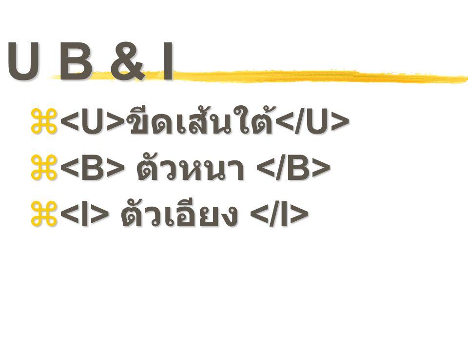 U B & I  ขีดเส้นใต้  ขีดเส้นใต้  ตัวหนา  ตัวหนา  ตัวเอียง  ตัวเอียง
