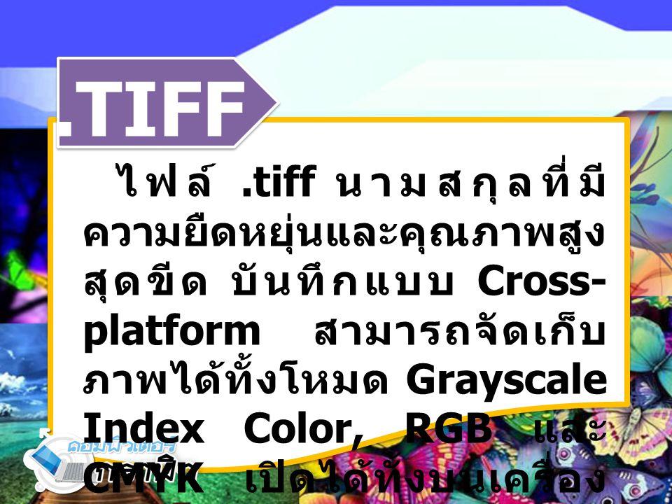.TIFF ไฟล์.tiff นามสกุลที่มี ความยืดหยุ่นและคุณภาพสูง สุดขีด บันทึกแบบ Cross- platform สามารถจัดเก็บ ภาพได้ทั้งโหมด Grayscale Index Color, RGB และ CMYK เปิดได้ทั้งบนเครื่อง Mac และ เหมาะสมเป็นอย่าง ยิ่งในวงการสื่อสิ่งพิมพ์