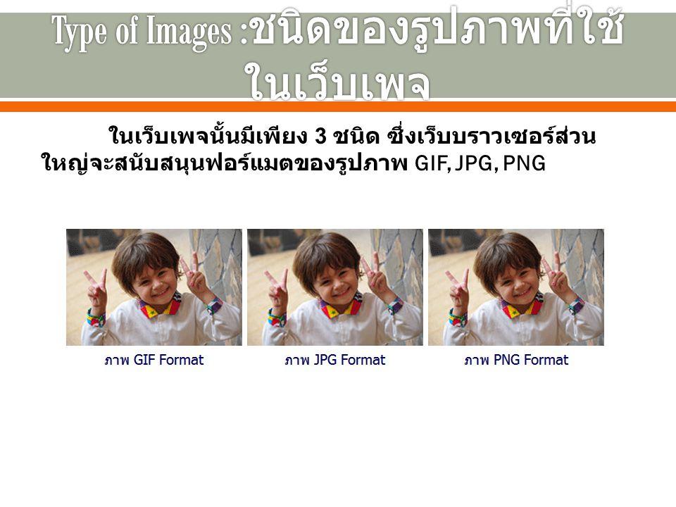 ในเว็บเพจนั้นมีเพียง 3 ชนิด ซึ่งเว็บบราวเซอร์ส่วน ใหญ่จะสนับสนุนฟอร์แมตของรูปภาพ GIF, JPG, PNG