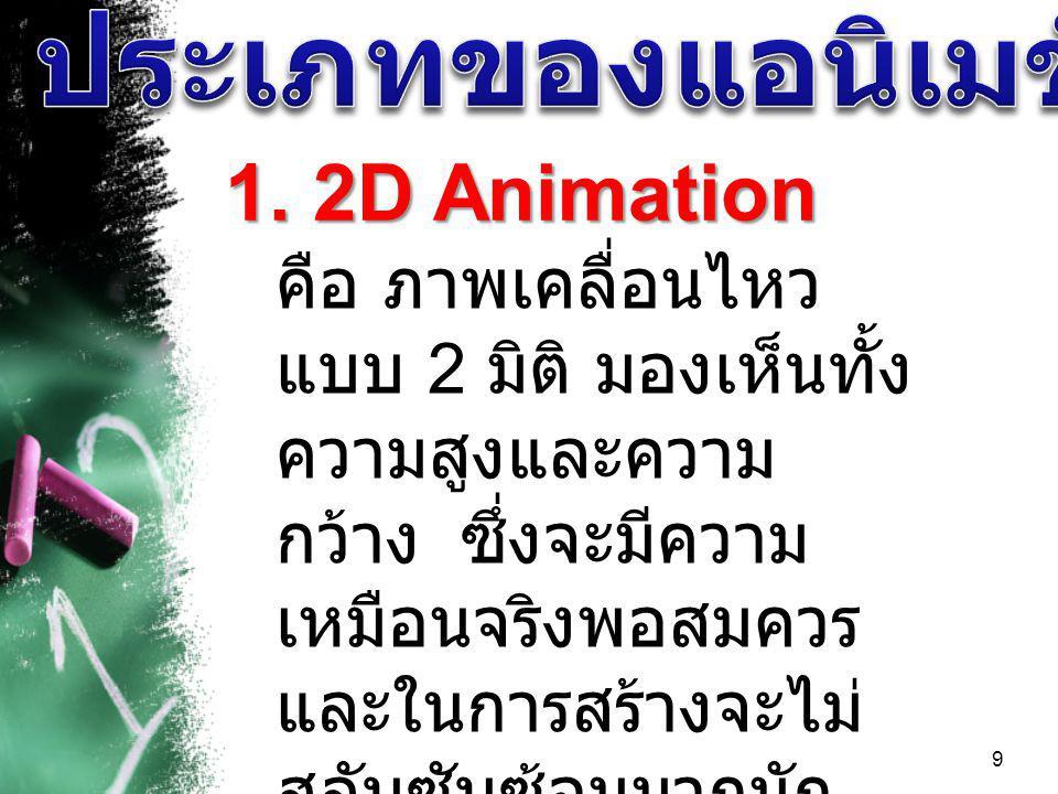 9 1. 2D Animation คือ ภาพเคลื่อนไหว แบบ 2 มิติ มองเห็นทั้ง ความสูงและความ กว้าง ซึ่งจะมีความ เหมือนจริงพอสมควร และในการสร้างจะไม่ สลับซับซ้อนมากนัก ตั