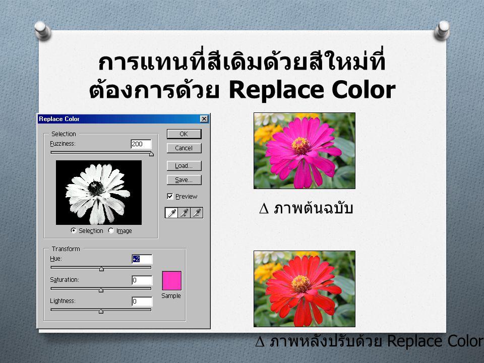 การแทนที่สีเดิมด้วยสีใหม่ที่ ต้องการด้วย Replace Color  ภาพต้นฉบับ  ภาพหลังปรับด้วย Replace Color
