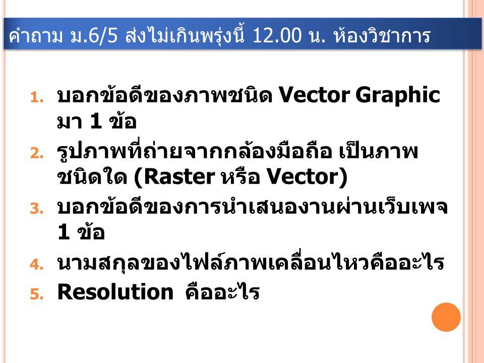 คำถาม ม.6/5 ส่งไม่เกินพรุ่งนี้ 12.00 น. ห้องวิชาการ 1. บอกข้อดีของภาพชนิด Vector Graphic มา 1 ข้อ 2. รูปภาพที่ถ่ายจากกล้องมือถือ เป็นภาพ ชนิดใด (Raste