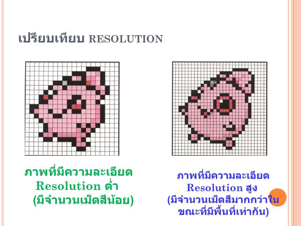 เปรียบเทียบ RESOLUTION ภาพที่มีความละเอียด Resolution ต่ำ ( มีจำนวนเม็ดสีน้อย ) ภาพที่มีความละเอียด Resolution สูง ( มีจำนวนเม็ดสีมากกว่าใน ขณะที่มีพื