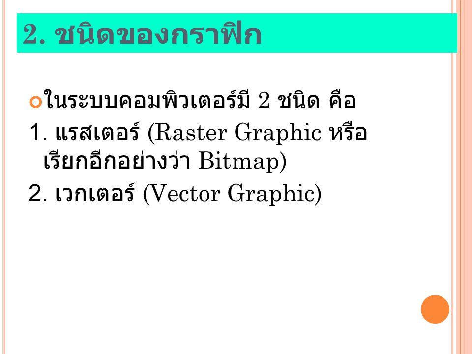 2. ชนิดของกราฟิก ในระบบคอมพิวเตอร์มี 2 ชนิด คือ 1. แรสเตอร์ (Raster Graphic หรือ เรียกอีกอย่างว่า Bitmap) 2. เวกเตอร์ (Vector Graphic)