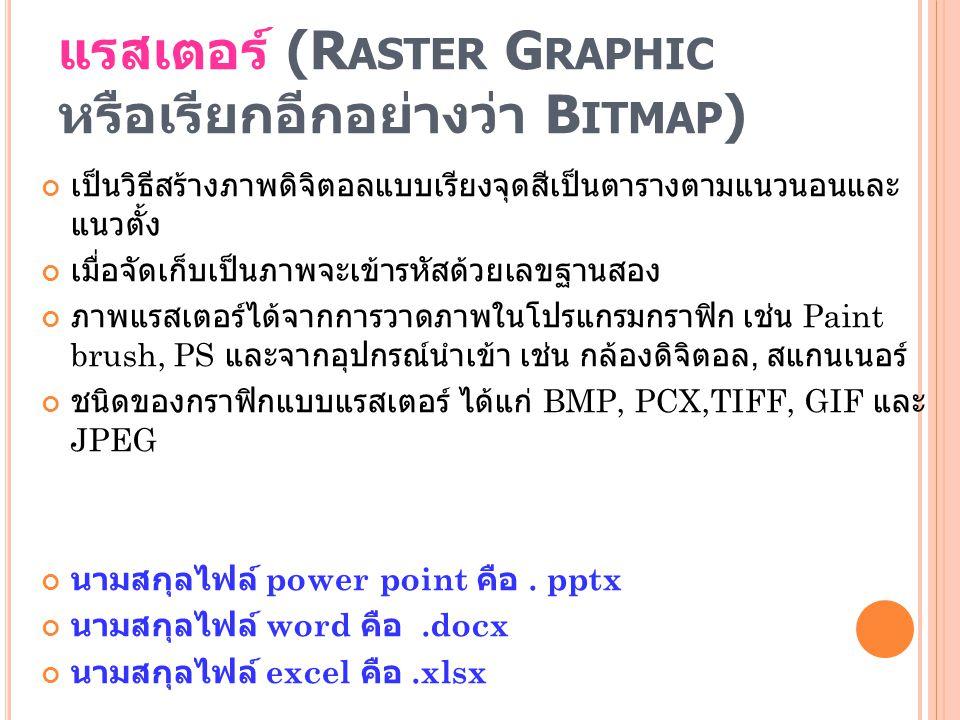 แรสเตอร์ (R ASTER G RAPHIC หรือเรียกอีกอย่างว่า B ITMAP ) เป็นวิธีสร้างภาพดิจิตอลแบบเรียงจุดสีเป็นตารางตามแนวนอนและ แนวตั้ง เมื่อจัดเก็บเป็นภาพจะเข้าร