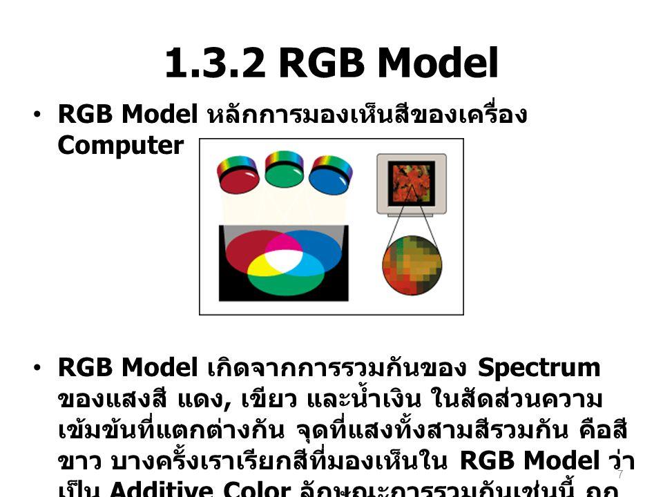 1.3.2 RGB Model RGB Model หลักการมองเห็นสีของเครื่อง Computer RGB Model เกิดจากการรวมกันของ Spectrum ของแสงสี แดง, เขียว และน้ำเงิน ในสัดส่วนความ เข้ม