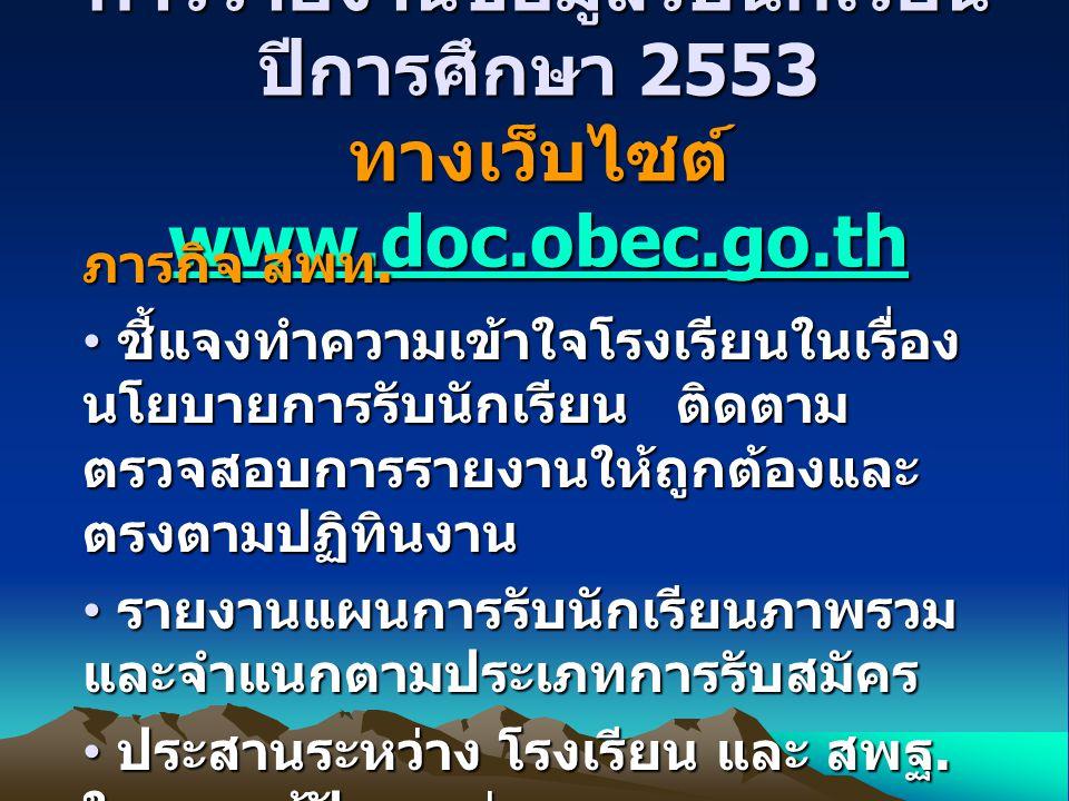 การรายงานข้อมูลรับนักเรียน ปีการศึกษา 2553 ทางเว็บไซต์ www.doc.obec.go.th www.doc.obec.go.th ภารกิจ สพท.