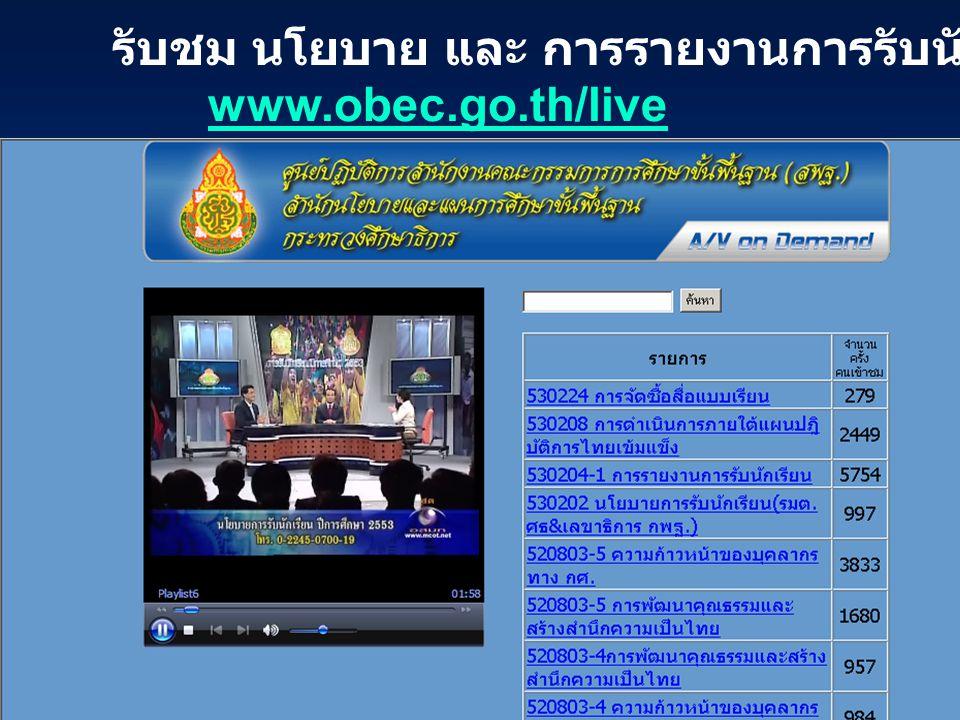 รับชม นโยบาย และ การรายงานการรับนักเรียนทางเว็บไซต์ www.obec.go.th/live