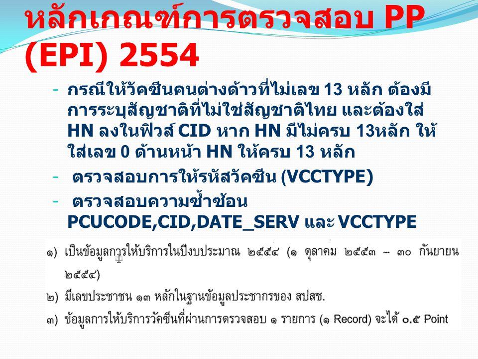 หลักเกณฑ์การตรวจสอบ PP (EPI) 2554 - กรณีให้วัคซีนคนต่างด้าวที่ไม่เลข 13 หลัก ต้องมี การระบุสัญชาติที่ไม่ใช่สัญชาติไทย และต้องใส่ HN ลงในฟิวส์ CID หาก HN มีไม่ครบ 13 หลัก ให้ ใส่เลข 0 ด้านหน้า HN ให้ครบ 13 หลัก - ตรวจสอบการให้รหัสวัคซีน (VCCTYPE) - ตรวจสอบความซ้ำซ้อน PCUCODE,CID,DATE_SERV และ VCCTYPE การคิดคะแนน Point EPI