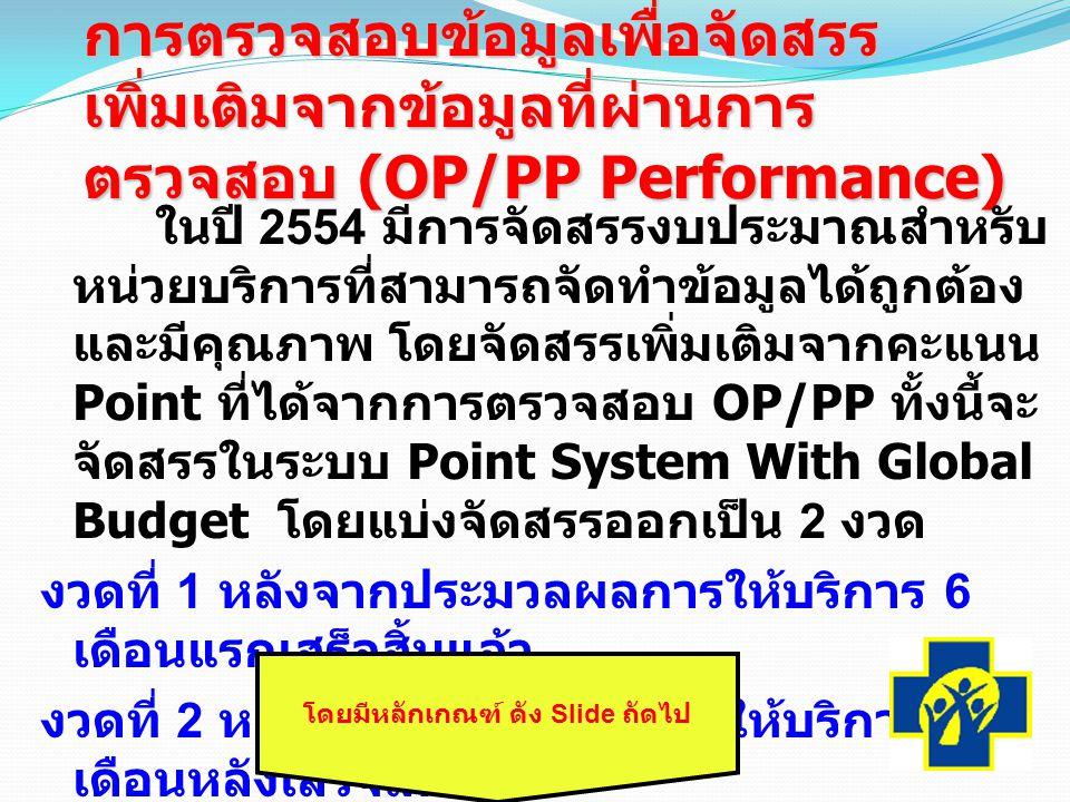 การตรวจสอบข้อมูลเพื่อจัดสรร เพิ่มเติมจากข้อมูลที่ผ่านการ ตรวจสอบ (OP/PP Performance) ในปี 2554 มีการจัดสรรงบประมาณสำหรับ หน่วยบริการที่สามารถจัดทำข้อมูลได้ถูกต้อง และมีคุณภาพ โดยจัดสรรเพิ่มเติมจากคะแนน Point ที่ได้จากการตรวจสอบ OP/PP ทั้งนี้จะ จัดสรรในระบบ Point System With Global Budget โดยแบ่งจัดสรรออกเป็น 2 งวด งวดที่ 1 หลังจากประมวลผลการให้บริการ 6 เดือนแรกเสร็จสิ้นแล้ว งวดที่ 2 หลังจากประมวลผลการให้บริการ 6 เดือนหลังเสร็จสิ้นแล้ว โดยมีหลักเกณฑ์ ดัง Slide ถัดไป