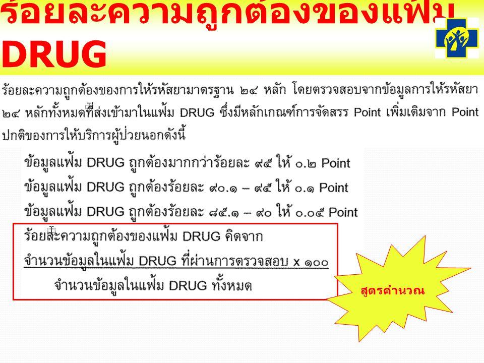 ร้อยละความถูกต้องของแฟ้ม DRUG สูตรคำนวณ