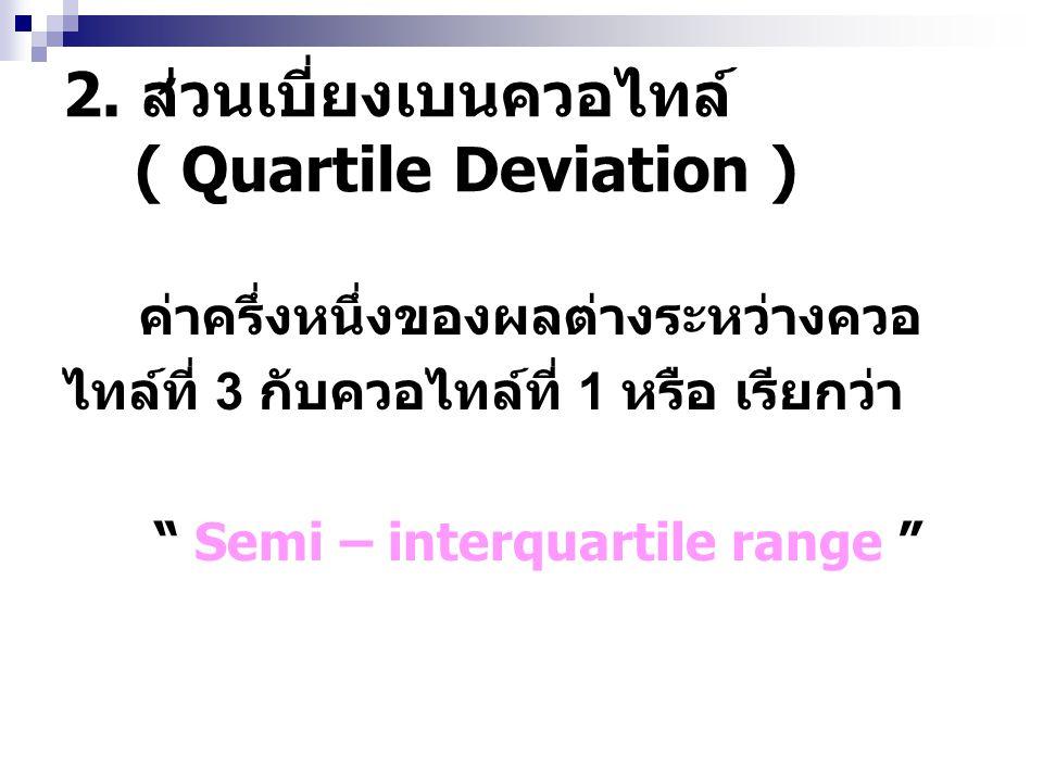 """2. ส่วนเบี่ยงเบนควอไทล์ ( Quartile Deviation ) ค่าครึ่งหนึ่งของผลต่างระหว่างควอ ไทล์ที่ 3 กับควอไทล์ที่ 1 หรือ เรียกว่า """" Semi – interquartile range """""""