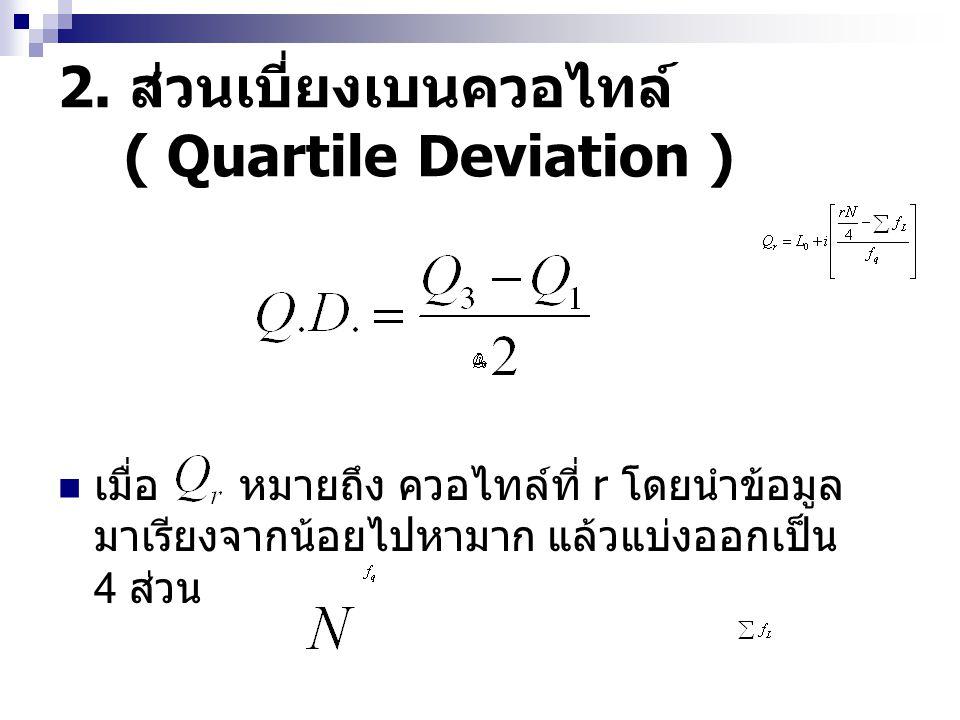 2. ส่วนเบี่ยงเบนควอไทล์ ( Quartile Deviation ) เมื่อ หมายถึง ควอไทล์ที่ r โดยนำข้อมูล มาเรียงจากน้อยไปหามาก แล้วแบ่งออกเป็น 4 ส่วน