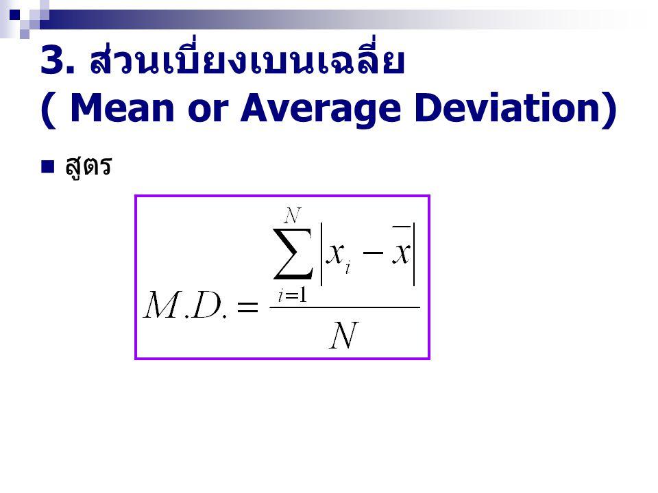 3. ส่วนเบี่ยงเบนเฉลี่ย ( Mean or Average Deviation) สูตร
