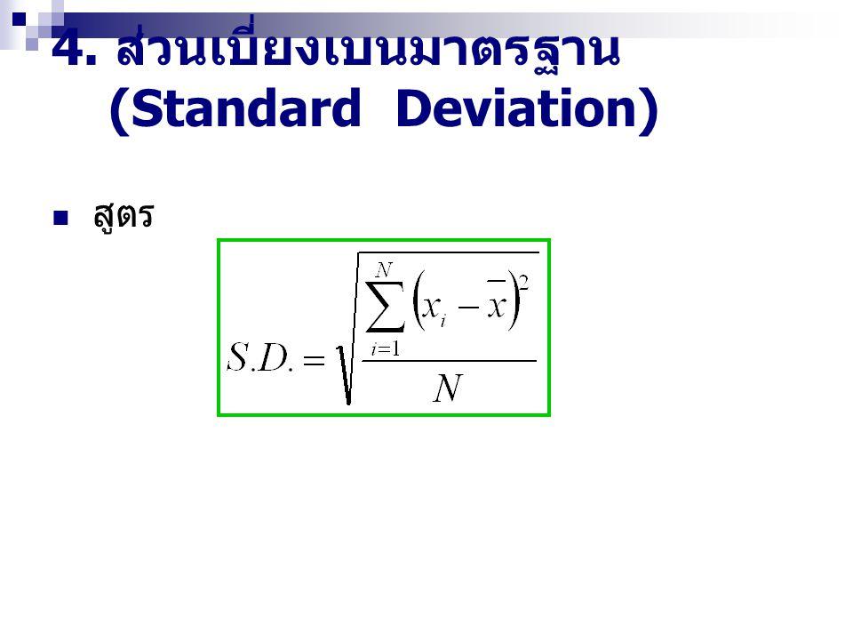 4. ส่วนเบี่ยงเบนมาตรฐาน (Standard Deviation) สูตร