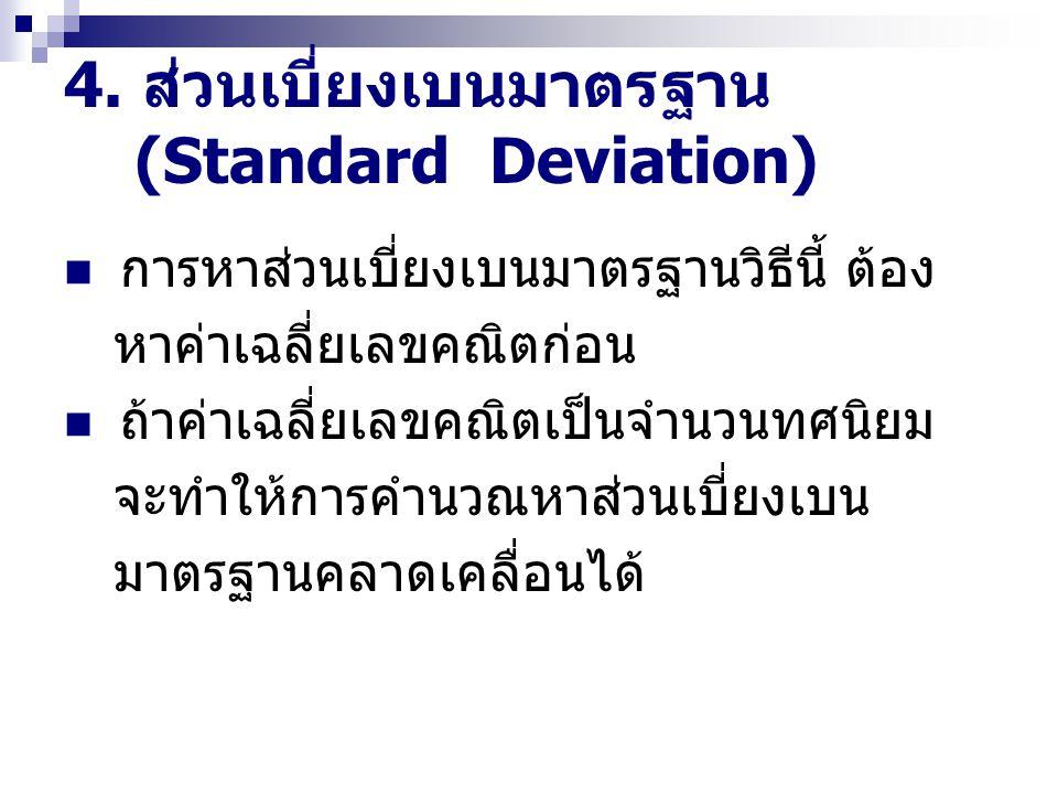 4. ส่วนเบี่ยงเบนมาตรฐาน (Standard Deviation) การหาส่วนเบี่ยงเบนมาตรฐานวิธีนี้ ต้อง หาค่าเฉลี่ยเลขคณิตก่อน ถ้าค่าเฉลี่ยเลขคณิตเป็นจำนวนทศนิยม จะทำให้กา