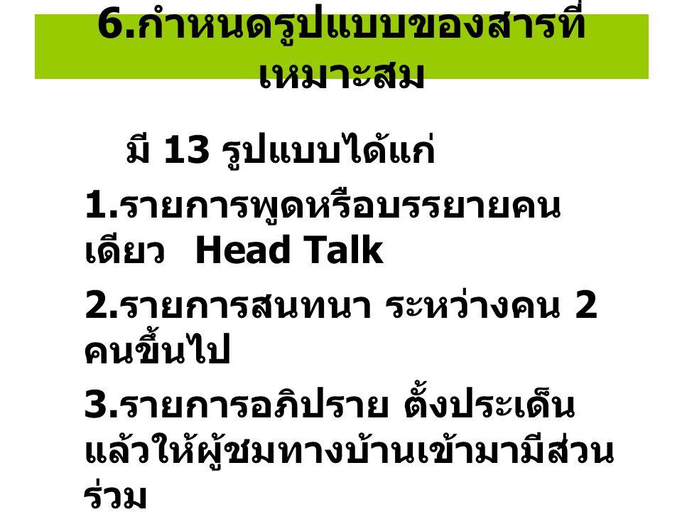 6. กำหนดรูปแบบของสารที่ เหมาะสม มี 13 รูปแบบได้แก่ 1. รายการพูดหรือบรรยายคน เดียว Head Talk 2. รายการสนทนา ระหว่างคน 2 คนขึ้นไป 3. รายการอภิปราย ตั้งป