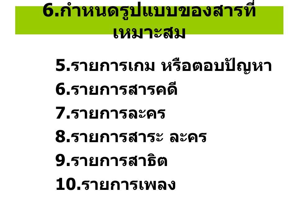 6. กำหนดรูปแบบของสารที่ เหมาะสม 5. รายการเกม หรือตอบปัญหา 6. รายการสารคดี 7. รายการละคร 8. รายการสาระ ละคร 9. รายการสาธิต 10. รายการเพลง