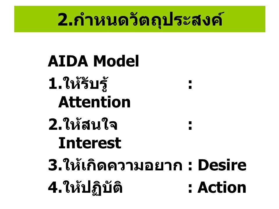 2. กำหนดวัตถุประสงค์ AIDA Model 1. ให้รับรู้ : Attention 2. ให้สนใจ : Interest 3. ให้เกิดความอยาก : Desire 4. ให้ปฏิบัติ : Action