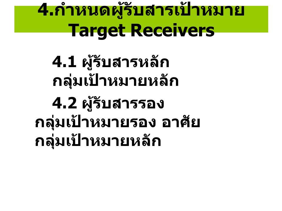 4. กำหนดผู้รับสารเป้าหมาย Target Receivers 4.1 ผู้รับสารหลัก กลุ่มเป้าหมายหลัก 4.2 ผู้รับสารรอง กลุ่มเป้าหมายรอง อาศัย กลุ่มเป้าหมายหลัก