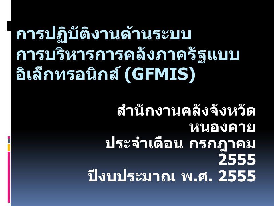 การปฏิบัติงานด้านระบบ การบริหารการคลังภาครัฐแบบ อิเล็กทรอนิกส์ (GFMIS) สำนักงานคลังจังหวัด หนองคาย ประจำเดือน กรกฎาคม 2555 ปีงบประมาณ พ. ศ. 2555