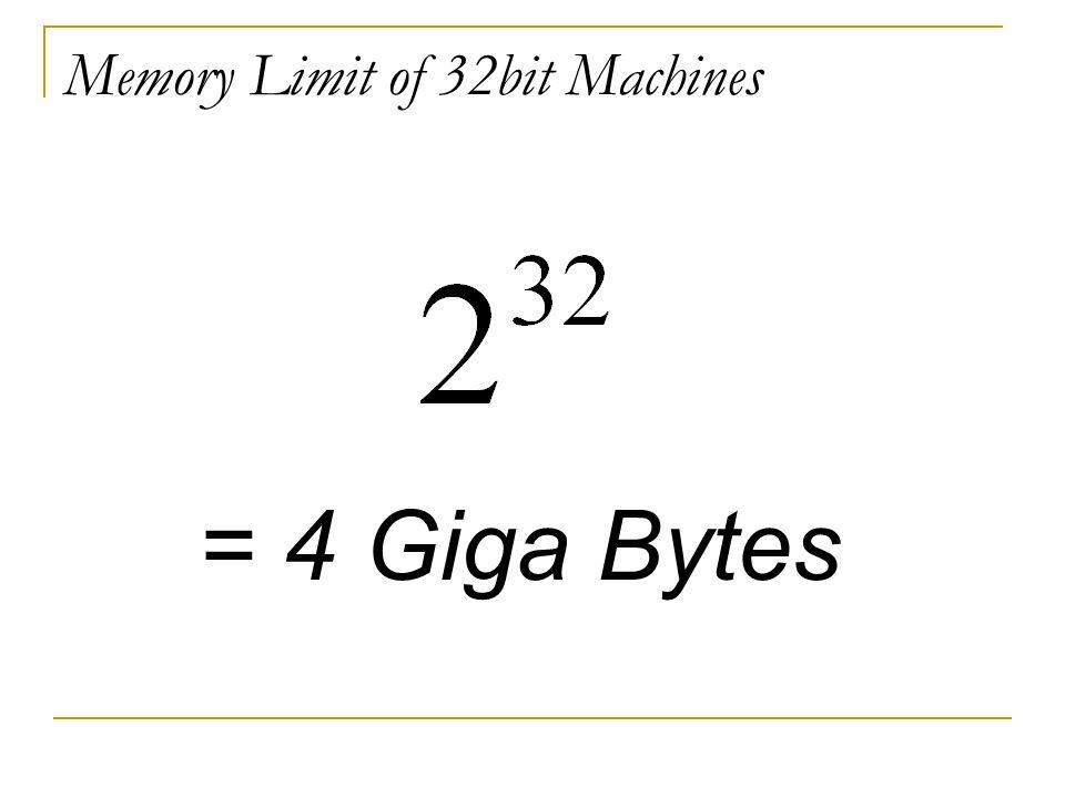 Memory Limit of 32bit Machines = 4 Giga Bytes