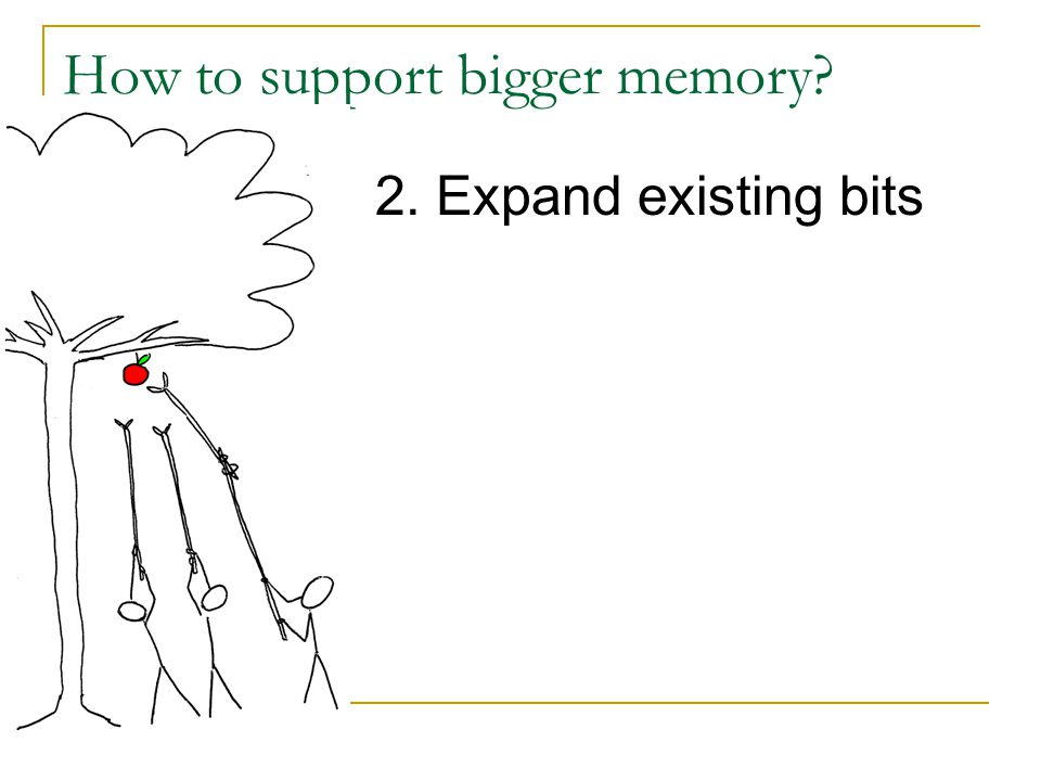 How to support bigger memory? 2. Expand existing bits