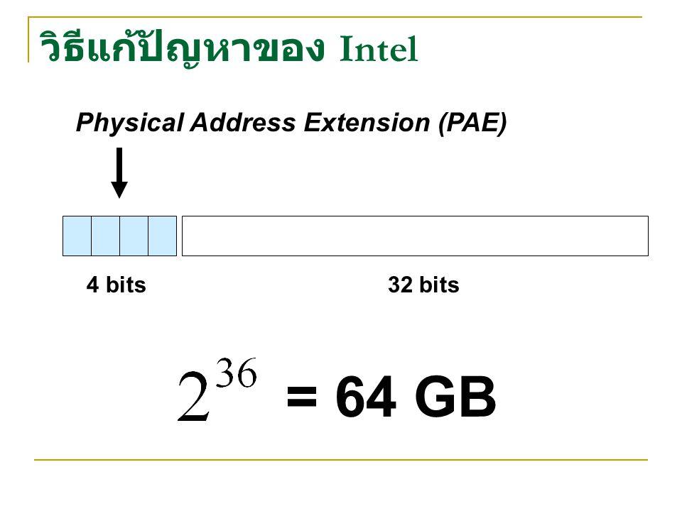 วิธีแก้ปัญหาของ Intel Physical Address Extension (PAE) 4 bits32 bits = 64 GB