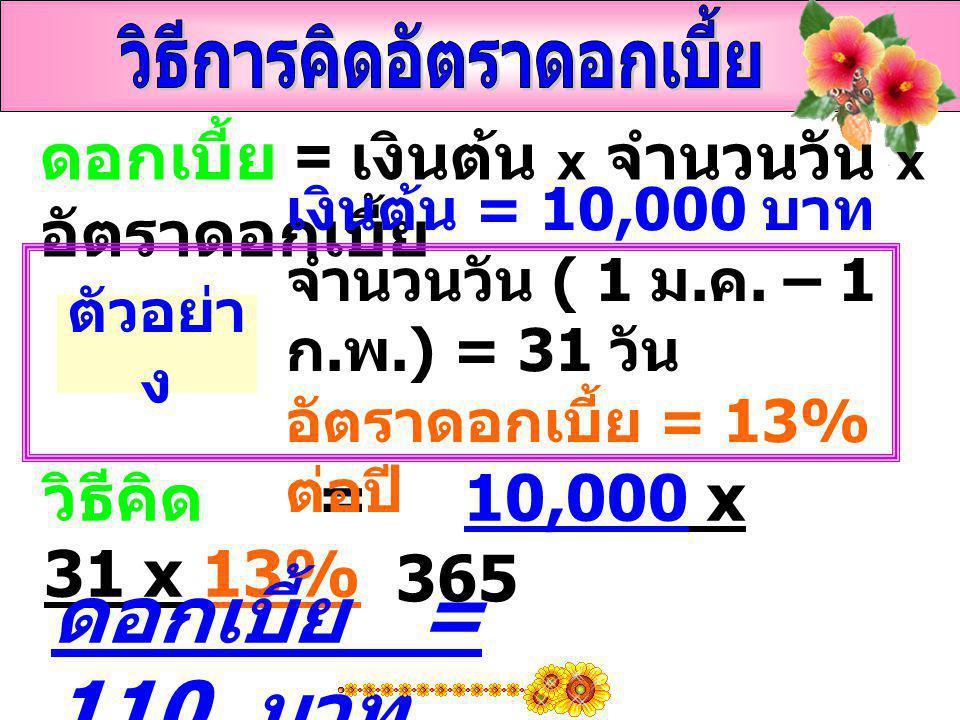 ดอกเบี้ย = เงินต้น x จำนวนวัน x อัตราดอกเบี้ย วิธีคิด = 10,000 x 31 x 13% ดอกเบี้ย = 110 บาท ตัวอย่า ง เงินต้น = 10,000 บาท จำนวนวัน ( 1 ม. ค. – 1 ก.