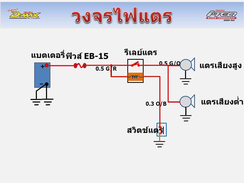 + แบตเตอรี่ รีเลย์แตร แตรเสียงสูง แตรเสียงต่ำ สวิตช์แตร ฟิวส์ EB-15 0.3 O/B 0.5 G/R 0.5 G/O
