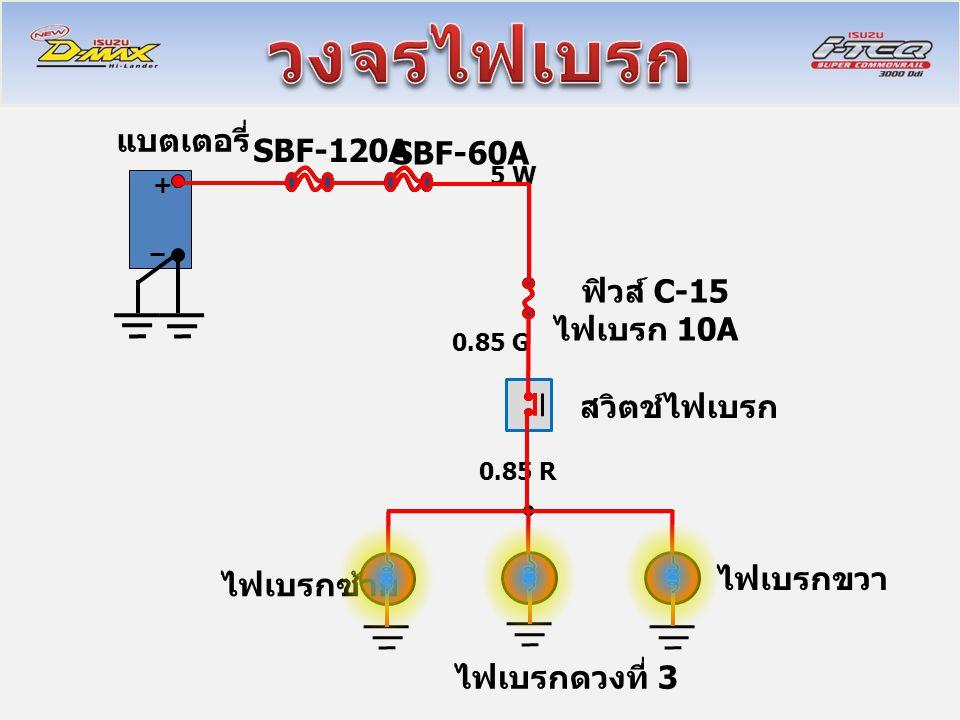 + แบตเตอรี่ SBF-120A SBF-60A ฟิวส์ C-15 ไฟเบรก 10A สวิตช์ไฟเบรก 0.85 G 0.85 R 5 W ไฟเบรกซ้าย ไฟเบรกขวา ไฟเบรกดวงที่ 3