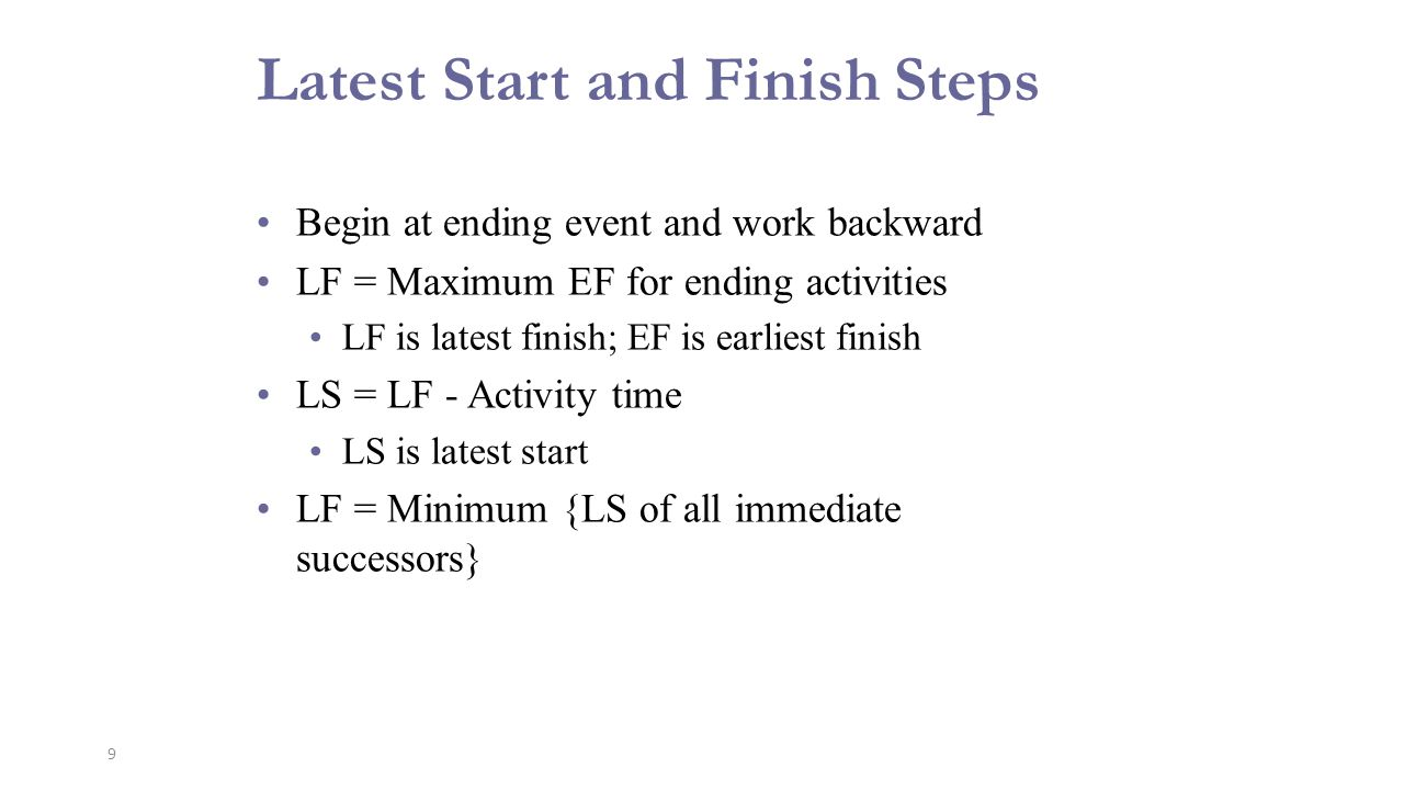 10 Latest Start and Finish Steps Latest Finish ES LS EF LF Earliest Finish Latest Start Earliest Start Activity Name Activity Duration