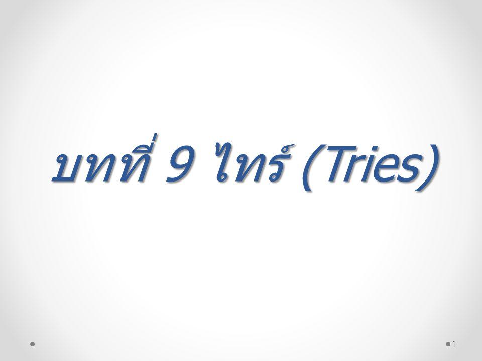 12 Full Tries ตัวอย่างในการเพิ่มคีย์ A , B , C , D , E , F ใน Full Tries โดยเลือกมาเฉพาะห้าบิตในรหัสแอสกรีเพื่อนำมาสร้าง ไทร์