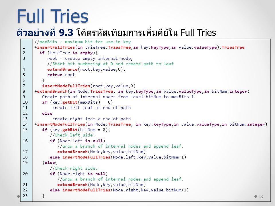 13 ตัวอย่างที่ 9.3 โค้ดรหัสเทียมการเพิ่มคีย์ใน Full Tries Full Tries 1 2 3 4 5 6 7 8 9 10 11 12 13 14 15 16 17 18 19 20 21 22 23 //maxBits : maximum b