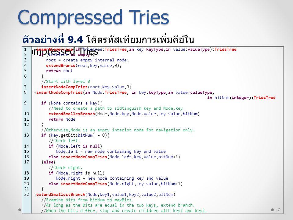 17 Compressed Tries ตัวอย่างที่ 9.4 โค้ดรหัสเทียมการเพิ่มคีย์ใน Compressed Tries 1 2 3 4 5 6 7 8 9 10 11 12 13 14 15 16 17 18 19 20 21 22 +insertCompT