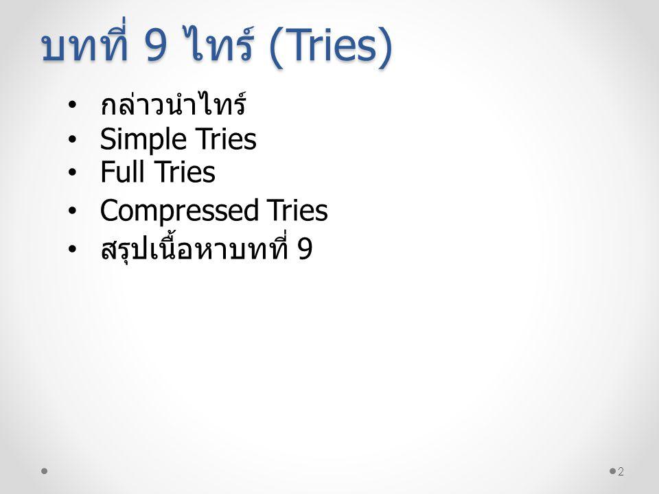 13 ตัวอย่างที่ 9.3 โค้ดรหัสเทียมการเพิ่มคีย์ใน Full Tries Full Tries 1 2 3 4 5 6 7 8 9 10 11 12 13 14 15 16 17 18 19 20 21 22 23 //maxBits : maximum bit for use in key +insertFullTries(in trieTree:TriesTree,in key:keyType,in value:valueType):TriesTree if (trieTree is empty){ root = create empty internal node; //Start bit-numbering at 0 and create path to leaf extendBrance(root,key,value,0); retrun root } insertNodeFullTries(root,key,value,0) +extendBranch(in Node:TriesTree, in key:keyType,in value:valueType,in bitNum:integer) Create path of internal nodes from level bitNum to maxBits-1 if (key.getBit(maxBits) = 0) create left leaf at end of path else create right leaf a end of path +insertNodeFullTries(in Node:TriesTree, in key:keyType,in value:valueType,in bitNum:integer) if (key.getBit(bitNum = 0){ //Check left side.