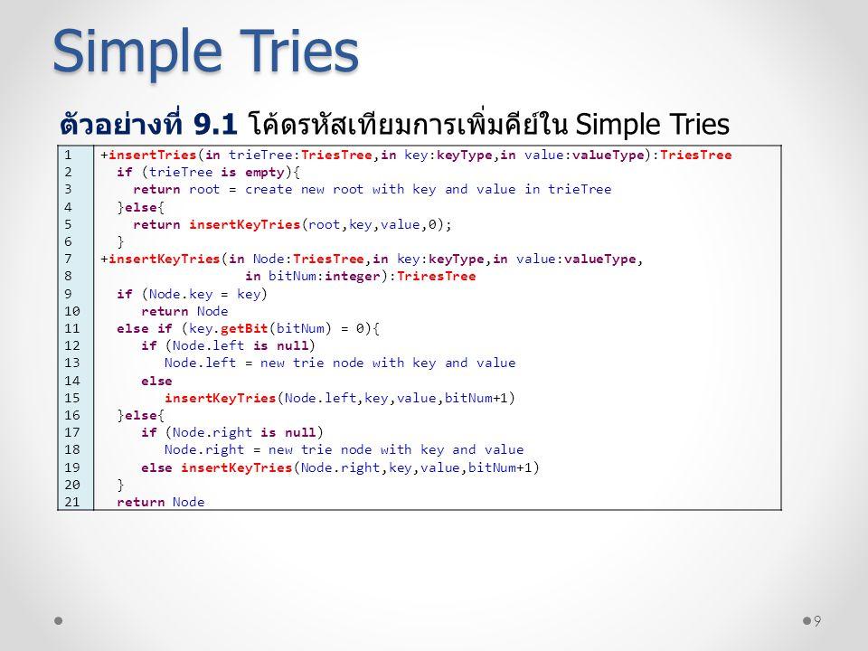 10 Simple Tries ตัวอย่างที่ 9.2 โค้ดรหัสเทียมการค้นหาคีย์ใน Simple Tries 1 2 3 4 5 6 7 8 9 10 11 12 13 14 15 16 17 18 +searchTries(in root:TriesTree,in key:keyType,):valueType Node = searchKeyTries(root,key,0) if (Node is null) return -1 else Node.value +searchKeyTries(in Node:TriesTree,in key:keyType,in bitNum:integer):TriresTree if (Node.key = key) return Node else if (key.getBit(bitNum) = 0){ if (Node.left is null) return null else searchKeyTries(Node.left,key,bitNum+1) }else{ if (Node.right is null) return null else searchKeyTries(Node.right,key,bitNum+1) }