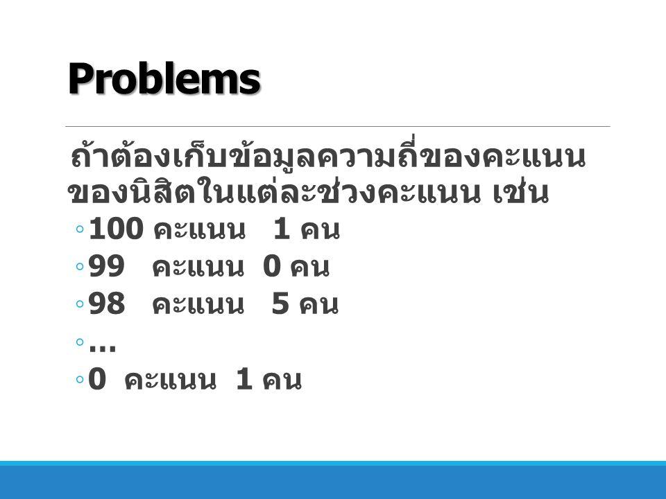 Problems ถ้าต้องเก็บข้อมูลความถี่ของคะแนน ของนิสิตในแต่ละช่วงคะแนน เช่น ◦ 100 คะแนน 1 คน ◦ 99 คะแนน 0 คน ◦ 98 คะแนน 5 คน ◦ … ◦ 0 คะแนน 1 คน