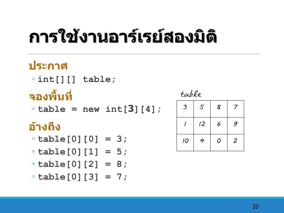 33 การใช้งานอาร์เรย์สองมิติ ประกาศ ◦ int[][] table; จองพื้นที่ ◦ table = new int[3][4]; อ้างถึง ◦ table[0][0] = 3; ◦ table[0][1] = 5; ◦ table[0][2] =