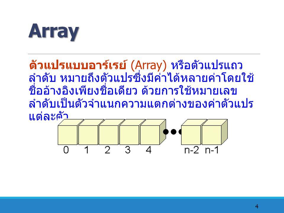 4 Array ตัวแปรแบบอาร์เรย์ (Array) หรือตัวแปรแถว ลำดับ หมายถึงตัวแปรซึ่งมีค่าได้หลายค่าโดยใช้ ชื่ออ้างอิงเพียงชื่อเดียว ด้วยการใช้หมายเลข ลำดับเป็นตัวจ